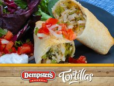 Get me some Chicken and Broccoli Burritos please! Tortilla use at its finest. Yummy Food, Tasty, Burritos, Fresh Rolls, Broccoli, Bakery, Healthy Eating, Chicken, Ethnic Recipes