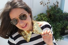 DIY Sequin neck - Cuello Peter Pan collar babero lentejuelas DIY