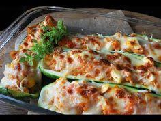 Deliciosos calabacines rellenos de atún; un plato casero y fácil con verdura, muy apetecible y atractivo, ideal para los más reacios a esta verdura y están . Natur House, Lasagna, Zucchini, Good Food, Pizza, Cooking Recipes, Diet, Vegetables, Ethnic Recipes