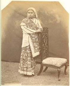 Studio Photograph of a Parsee Lady in Sari - Antique Photos, Vintage Photographs, India West, India Culture, Vintage India, Indian Textiles, South Pacific, Incredible India, Sri Lanka