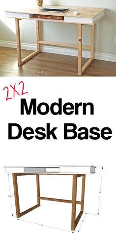 Easy modern desk base. Free plans by ANA-WHITE.com. #anawhite #anawhiteplans #2x2 #diy #diydeskplans #moderndesk