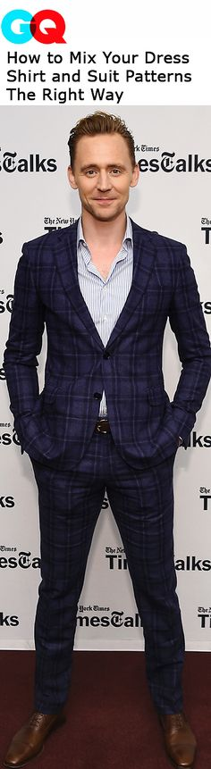 """""""We've talked a lot about the style savvy of Tom Hiddleston recently and, as much as we feel like we've made our point, the guy just keeps showing up to events in too-good-not-to-mention looks."""" Link: http://www.gq.com/story/how-to-mix-dress-shirt-and-suit-patterns-tom-hiddleston"""