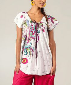 Another great find on #zulily! White & Pink Floral Peasant Top by Aller Simplement #zulilyfinds