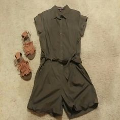 ⭐⭐Olive Green Romper⭐⭐ Belted and buttons. Cotton Olive green romper, bought and washed but never worn. Dress it casual or pair it wedges, looks grwat!# Gloria Vanderbilt Other
