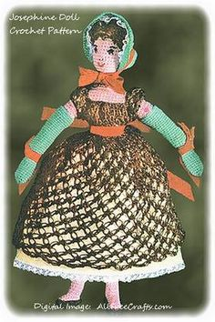 Free vintage pattern to make a beautifully detailed Empress Josephine doll in Knit Cro-Sheen or similar crochet yarn.