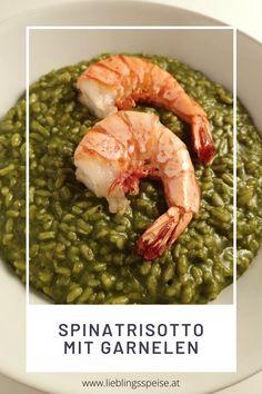 𝐒𝐩𝐢𝐧𝐚𝐭𝐫𝐢𝐬𝐨𝐭𝐭𝐨 𝐦𝐢𝐭 𝐆𝐚𝐫𝐧𝐞𝐥𝐞𝐧 - eine ganz tolle Variante des italienischen Klassikers. Durch den Spinat und den Parmesan wird der Reis wunderbar cremig. Dazu eine feine Zitronennote durch frische Zitronenzesten und obenauf wunderbare Riesengarnelen höchster Qualität. Über Risotto sollte man sich einfach mal drübertrauen - es ist ganz leicht zu kochen, braucht nur etwas Zeit. Aber die ist mit einem Glas Wein in der Hand auch ganz einfach überbrückt! :) Parmesan, Ethnic Recipes, Food, Fish Dishes, Prawn Stir Fry, Wine, Italy, Eten, Meals