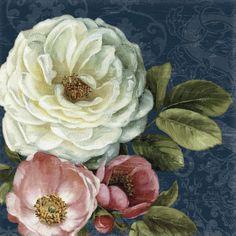 Floral Damask on Indigo - Fototapeten & Tapeten - Photowall