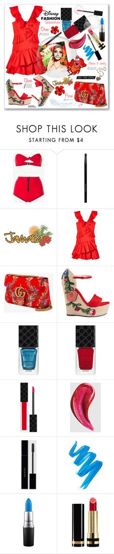 """Sebastian Inspired: Disney's The Little Mermaid - Jamaican Theme"" by keisha-polyvore ❤ liked on Polyvore featuring Lisa Marie Fernandez, Gucci, Rebecca Taylor, L.A. Girl, Disney, disney, littlemermaid, sebastian, polyPresents and CharacterInspiredFashion"