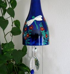 Cobalt Blue Wine Bottle Wind Chime, Red Flowers, Dragonfly, Yard Art, Patio