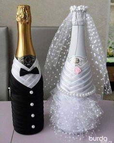 wedding bottle decoration,decorative bottles,bride and groom wine bottle covers,pimped bottles weddi Wine Bottle Covers, Wine Bottle Art, Diy Bottle, Wine Bottle Crafts, Bottle Centerpieces, Wedding Centerpieces, Wedding Decorations, Wedding Wine Glasses, Wedding Wine Bottles