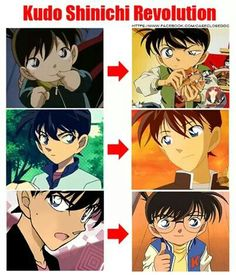 It's amazing to me how young Shinichi looks so different from Conan. It's the same character but depicted so differently that you can usually tell quickly who it is. or rather Shinichi's mental age in the image. Manga Detective Conan, Detective Conan Shinichi, Conan Comics, Detektif Conan, Super Manga, Detective Conan Wallpapers, Gosho Aoyama, Kaito Kid, Manga Story