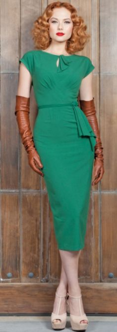 This is a good idea.  Nude pumps and some leather gloves really make a green dress dazzle.