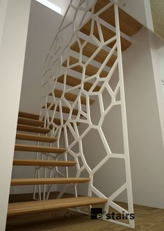 staircase wood-railing-metal-openwork-draw-the-home - divider Wood Railing, Stair Handrail, Staircase Railings, Wooden Staircases, Modern Staircase, Staircase Design, Interior Stairs, Interior Architecture, Interior Design