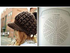 Crochet Newsboy Hat, Crochet Cap, Crochet Diagram, Knitted Hats, Crochet Stitches Patterns, Knitting Patterns, Sombrero A Crochet, Crochet Slippers, Crochet Clothes