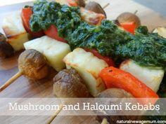 Mushroom and Haloumi Kebabs. A yummy vego dish with zing. Vegetarian, grain free, gluten free, nut free, egg free, sugar free.