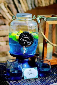 Good drink idea for a nautical, swimming, surf or pool party! Via KarasPartyIdeas.com