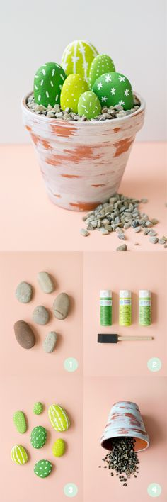 Spring DIY rock cactus Fun DIY spring projects to add life to your home! As spring approaches we feel the urge to vacuum out the collected dust and open our windows to let out the stale air. We begin to spend more time outdoors, anticipating the summer he Kids Crafts, Cute Crafts, Crafts To Do, Arts And Crafts, Room Crafts, Kids Diy, Easy Crafts, Budget Crafts, Easy Diy Gifts