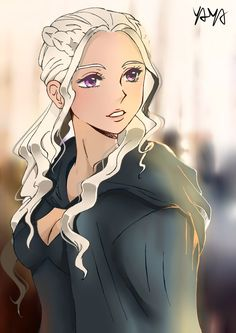 Game of Thrones - Daenerys Targaryen by YayaChann Game Of Thrones Gifts, Game Of Thrones Dragons, Got Game Of Thrones, Daenerys Targaryen Art, Game Of Throne Daenerys, Khaleesi, Cool Anime Guys, Anime Girls, Throne Of Glass Books