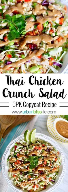 Thai Chicken Salad with a sweet, tangy peanut dressing, is a healthy, satisfying meal packed with protein and nutrient-rich crunchy veggies. Get the recipe on UrbanBlissLife.com #salad #thaifood #saladrecipe #foodblog #foodblogger #chickensalad #whole30 #paleo #glutenfree #grainfree #dairyfree