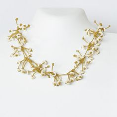 Necklace Short White Flowers  in Gold leather by Cardoucci on Etsy
