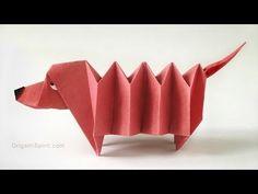 Chien teckel origami:: Perro Salchicha – Origami Community : Explore the best and the most trending origami Ideas and easy origami Tutorial Instruções Origami, Origami And Kirigami, Origami Ball, Origami Folding, Useful Origami, Origami Paper Art, Paper Folding, Oragami, Kids Origami Easy