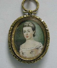 18th c. Miniature Portrait on Ivory - Sweet Young Georgian Girl