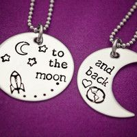 To the moon... and back - Hand Stamped Stainless Steel Necklace Set - Gift for…
