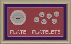 Plate and platelets: funny cross-stitch pattern. $3.00, via Etsy.