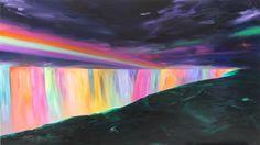 "Niagara- Illuminated Falls  oil on panel  60"" x 108"""