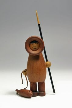 Eskimo with seal and spear by norwegian designer Arne Tjomsland, 1950s.