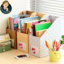 DIY Clever Book Bins For Your Kids That You Will Love art organization Study Room Decor, Diy Room Decor, Home Decor, Organizer Box, Book Bins, Desktop Storage, Ideas Para Organizar, Diy Desk, Diy Box