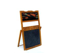 Antique Chalkboard Easel Vintage Childrens Blackboard Toy Oak 1930s