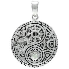Offering a Neo-Victorian twist on the Eastern icon, the Steampunk Yin Yang Pendant from Medieval Collectibles shows off the dual sides of the symbol with black and clear crystals serving as the dots. #steampunk #pendant #necklace #jewelry #yinyang