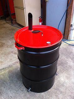 Barrel Project Photo's - 55 gallon plastic drum projects - 55 gallon metal drum projects - bbq grill - Ugly drum smokers - Rain Barrels - Co. 55 Gallon Drum Smoker, Ugly Drum Smoker, Build A Smoker, Diy Smoker, Barrel Projects, Diy Projects, Welding Projects, House Projects, Barbacoa