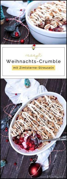 Rezept für Weihnachts-Crumble mit Cranberries und Zimtsterne-Streuseln   Filizity.com   Food-Blog aus dem Rheinland #dessert #weihnachten #zimtsterne #plätzchen