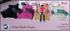 Lok's 1 Prim Mesh Chairs 20L by Sera Lok, via Flickr http://maps.secondlife.com/secondlife/Low%20Prim%20Furniture/201/57/42 Second Life Furniture