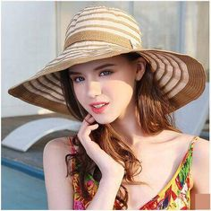 21c4bb7b Black and white striped sun hat for women UV protection hats summer wear. Uv  Protection HatStraw HatsWide Brim ...