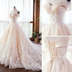 Elegant Champagne Wedding Dresses 2018 Ball Gown Lace Appliques Pearl Off-The-Sh. - Elegant Champagne Wedding Dresses 2018 Ball Gown Lace Appliques Pearl Off-The-Shoulder Backless Sle - Wedding Dresses 2018, Wedding Dress Train, Perfect Wedding Dress, Quinceanera Dresses, Bridal Dresses, Lace Wedding, Wedding Rings, Champagne Wedding Dresses, Elegant Wedding