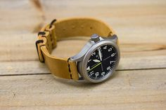 Horween Polished Sand Leather Watch Strap PVD NATO by choicecuts, $65.00