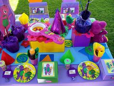 thinking of changing Chloe's birthday theme. She loves Barney now! Barney Birthday Party, 3rd Birthday Parties, 2nd Birthday, Barney Party Supplies, June 1 Birthdays, Barney & Friends, Second Birthday Ideas, Minions, Sunshine Birthday