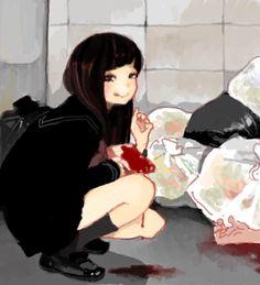 Bloody anime girl Guro