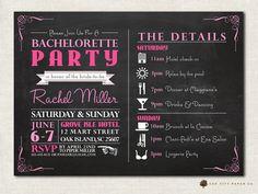Bachelorette Invitation - Bachelorette Party Invitation, Bachelorette Itenerary, Girls Weekend, Chalkboard Invitation Template - Printable on Etsy, $18.00