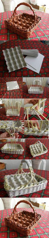 *DIY Egg Basket   Trouver le panier adéquat et y mettre des boîtes d'oeufs, super idée !