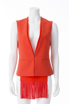 Veste orangée à franges sans manche, BCBG, 310$ * Orange sleeveless fringed vest, BCBG, $310