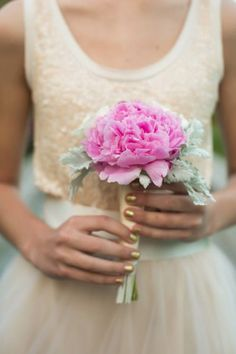 A single, sweet, pink peony bouquet Vow renewal of Beth Chapman, owner of The White Dress by the shore Photography by Amanda Suanne Photography