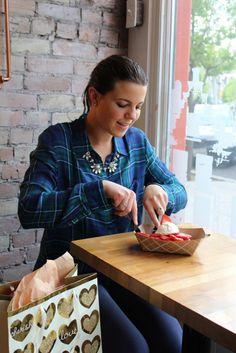 BYU student Lindsay Bush making plans for Mother's Day at Bruges Waffles & Frites College Food Hacks, College Meals, Tasty, Yummy Food, Waffles, Bruges, Celebrities, Mothers, Universe