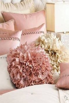 Cushions ❤ ❤ ❤ Maybe not the pink, but the concept, like youre sitting on flower puffs.