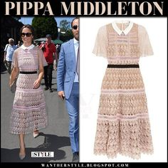 Pippa Middleton in pink lace midi dress from Self Portrait at Wimbledon July 5 2017