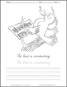 bird conducting music coloring sheet pdf free to print includes handwritingspelling practice