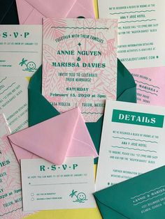 With its islander vibe fonts and bright color palette, the Vacationland Suite is the perfect fit for your modern tropical wedding! Spring Wedding Invitations, Creative Wedding Invitations, Destination Wedding Invitations, Wedding Invitation Design, Wedding Stationery, Graphic Design Invitation, Invitation Layout, Wedding Programs, Invite